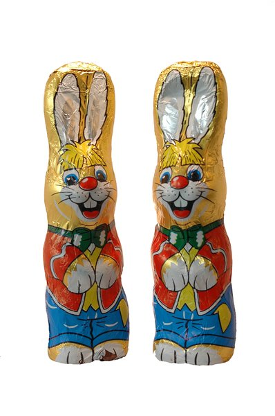 Easter Bunnies: a couple of chocolate easter bunnies