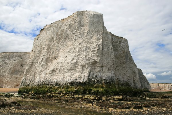 Chalk cliffs: Chalk cliffs at low tide in Kent, England.