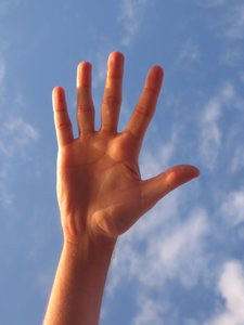 hand and sky
