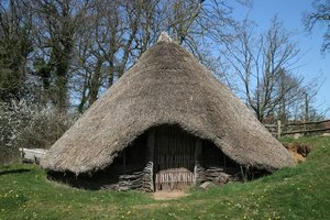 Bronze Age roundhouse: A reproduction Late Bronze Age (c. 900 BC) roundhouse in Sussex, England.