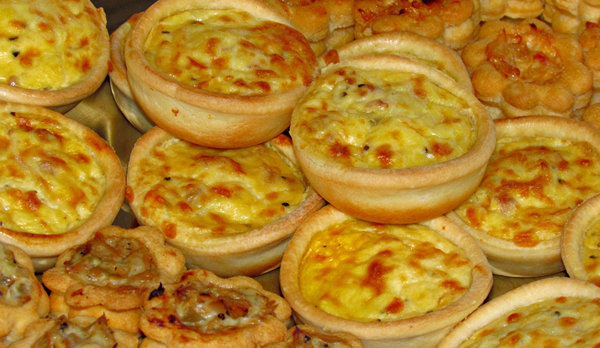 savoury snacks: mini quiches and vol-au-vents
