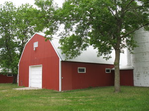 red barn: a red barn at the dakota county fairgrounds.