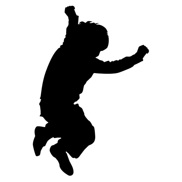 Silhouette jumping child: a series of three images depicting playing children