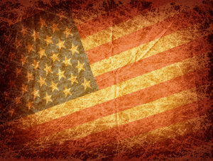 Grunge Flag: A grungy background with The USA Flag.