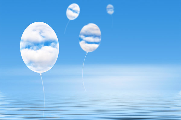The sky is the limit: Cloud balloons in blue sky
