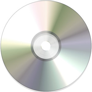 DVD or CD 2: A DVD or CD, with reflected colours and light.