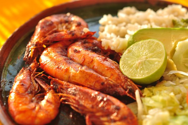 Plate of shrimp mexican food
