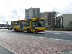 A bus in the city: A city bus, Warsaw, Poland. Early spring.