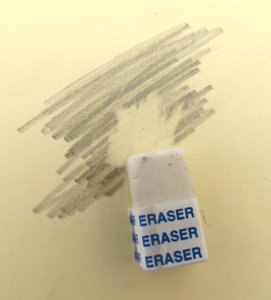 eraser 1: a rubber, eraser, removing pencil marks