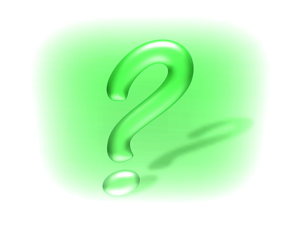 Question Mark 4: Question mark in 3D, with a shadow, against a green and white coloured background.
