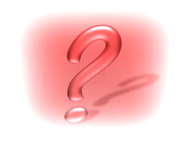 Question Mark 6: Question mark in 3D, with a shadow, against a red and white coloured background.