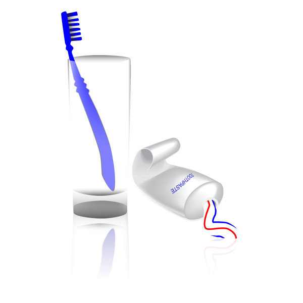 Toothbrush, toothpaste and gla