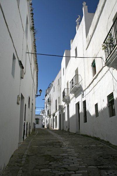 Spanish street 3: Traditional white houses in a hilltop village in Andalucia, Spain.