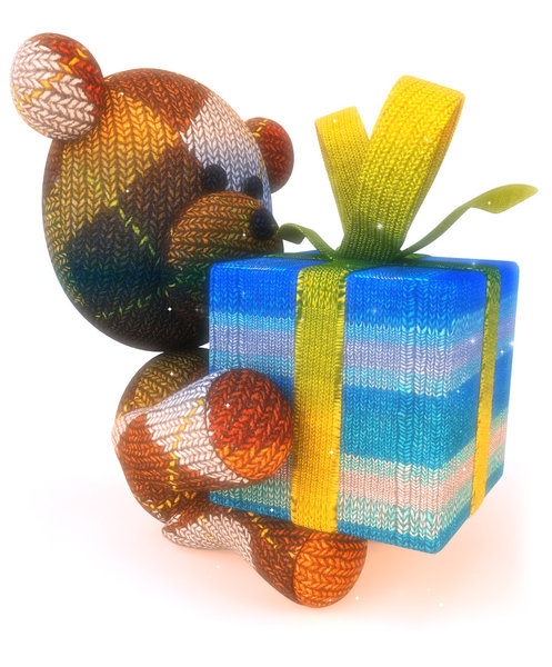 Teddy bear with gift