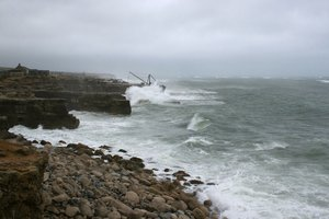 Stormy sea: A stormy sea off the south coast of England.