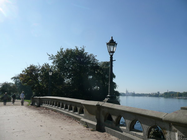 Stone Bridge: Bridge in Hamburg at the river Alster