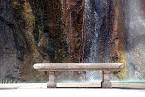 Park bench & waterfall: Park bench & waterfall