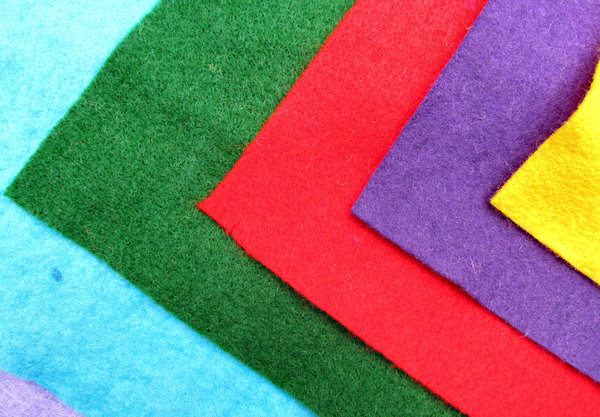folds of felt: variously coloured cuts of felt material