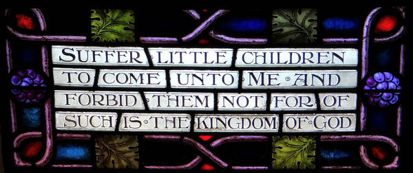 Jesus & children2: stained glass window old English text
