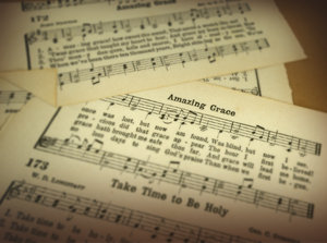 Amazing Grace: Pages from a vintage hymnal.