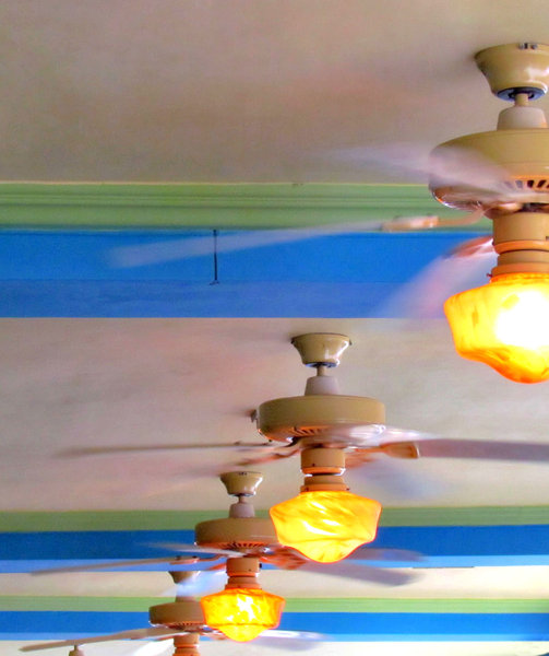 ceiling light fans2: undercover area with swirling light fanes
