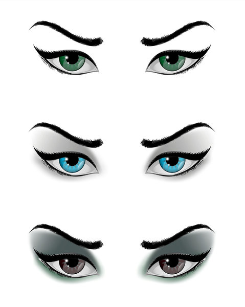 feminine eyes: feminine eyes in three vectors versions