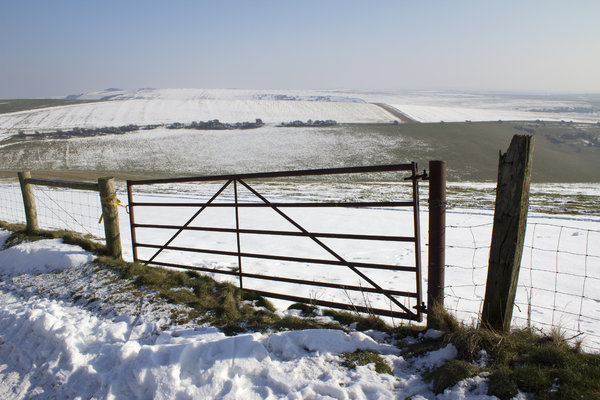 Old gate in snow