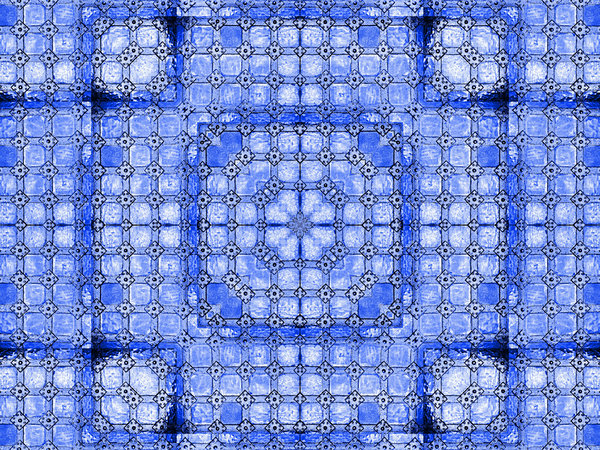 linked and riveted blue matrix