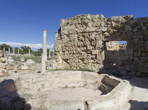 Ancient ruins: A bathing pool for athletes in the ancient city of Salamis, Cyprus. Four shot photomerge.