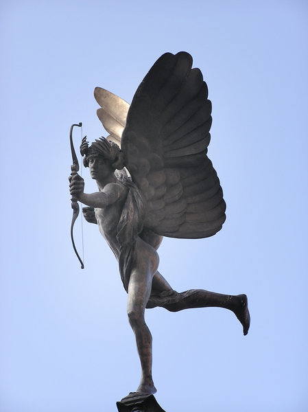 Anteros: Piccadilly Circus memorial fountain with Anteros, popularly referred to as Eros or sometimes The Angel of Christian Charity, one of the first statues to be cast in aluminium