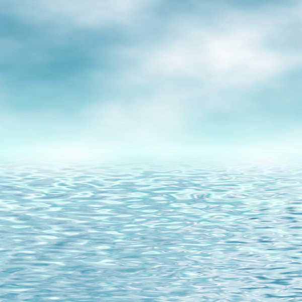 Watery Horizon: A warm blue seascape background in colours of aqua and white. Lots of copyspace, and would make an excellent backdrop.