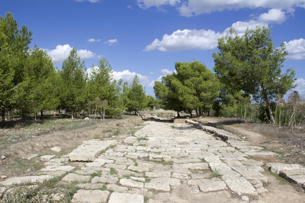 Ancient road: Remains of an ancient Greco-Roman road at Salamis, Cyprus.