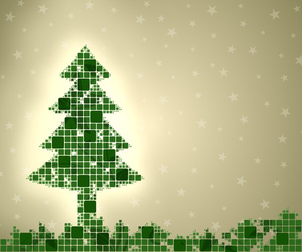 Modern Christmas Tree: Green christmast tree consists of squares