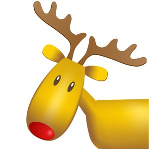 Christmas Elements - Rudolf: Rudolf reindeer on the white background