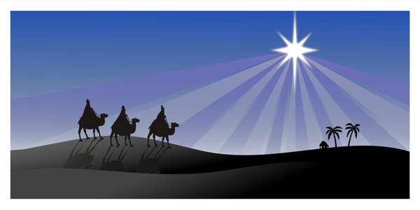 Three Kings: three kings walking to the Child of Jesus, another versions
