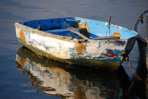 Weathered Rowboat: A weathered rowboat in Rockport Maine