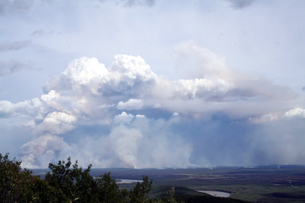 Smoke in the Valley: Fire along George Parks Highway between Anderson and Nenana communities in 2006.
