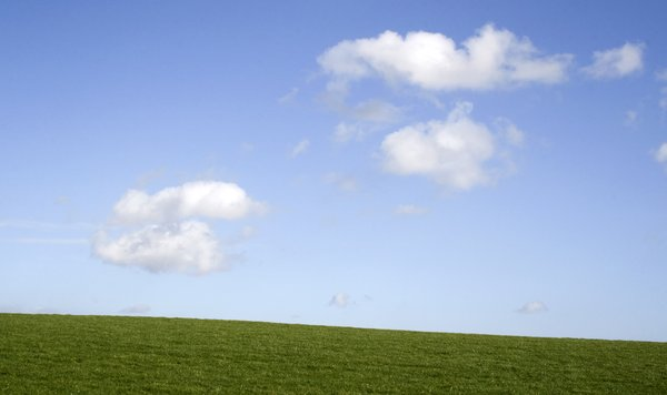 Clouds and grass: Landscape of the South Downs, West Sussex, England.