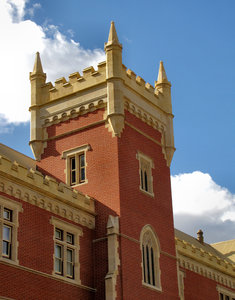 castellated-style building3: historic castellated-styled university building