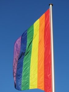 rainbow flag: Symbol of the Lesbian, Gay, Bisexual, Transgender Movement - see http://en.wikipedia.org/wiki/Rainbow_flag