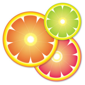 Fruit slices: Stylized slices of orange, grapefruit and citrus against a white background.