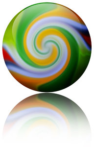 Twirl Ball: A colorful twirl ball with reflection.