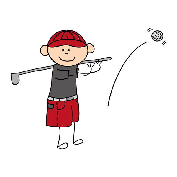 Golfer boy: Drawing of a cute little boy playing at golf