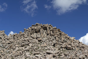 Precarious mountain top: Summit debris in the Rocky Mountains, Colorado, USA.