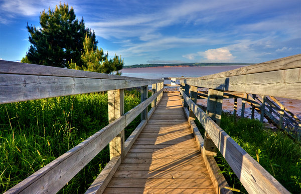Hopewell Beach Boardwalk - HDR: Boardwalk on the North Beach of Hopewell Cape, New Brunswick. HDR composite from multiple exposures.