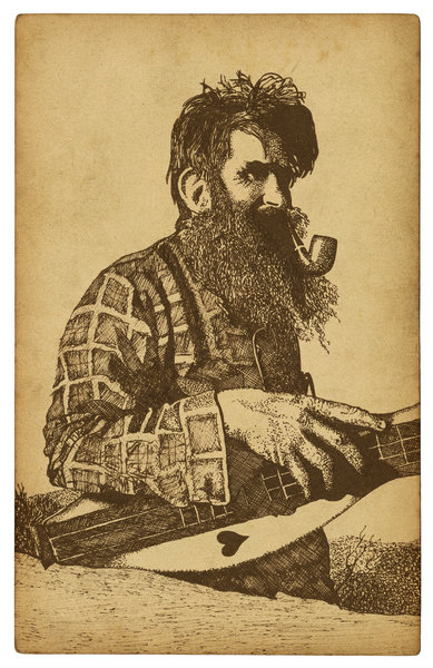 Mountain Man: A drawing from one of my vintage sketch books.