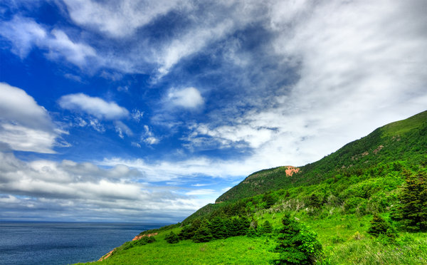 Cabot Trail - HDR: Wide-angle scenery of the Cabot Trail in Cape Breton, Nova Scotia, Canada. HDR composite from multiple exposures.