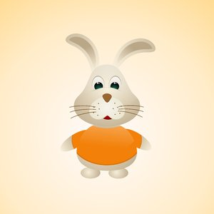 Easter Bunny 1: Vector bunny on the orange background