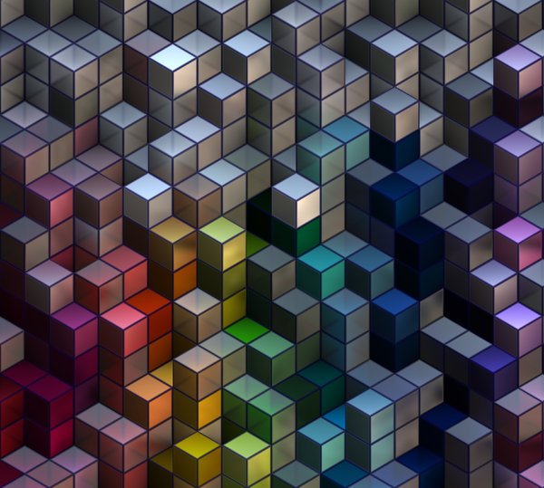 Blocks 4: An abstract image of colourful translucent and pearl textured 3d blocks with metallic edges, in a variety of vivid colours. Great backgound or texture. Hi-res.