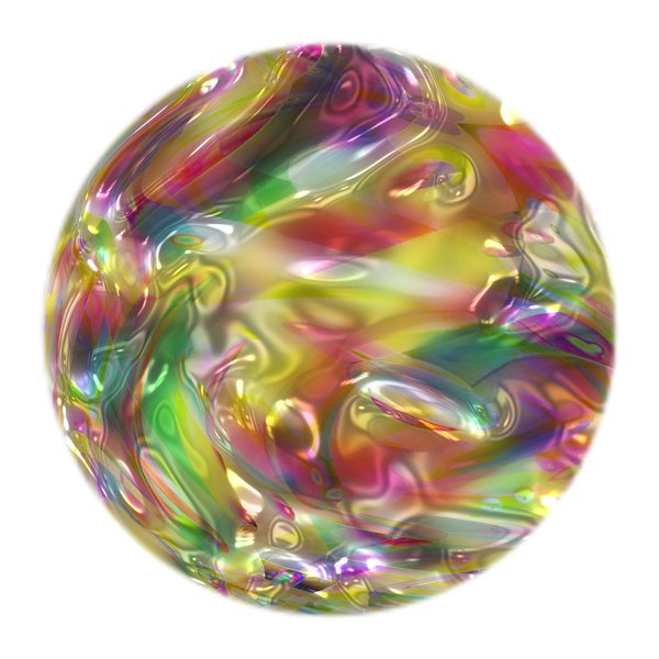 Colourful Metallic Ball 5: A multi-coloured metallic ball, which could be used as a Christmas bauble, a crystal ball, or in fills and fantasy backgrounds. Also makes a great texture.